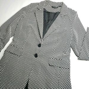 Black and White Polka Dot Textured Blazer 8